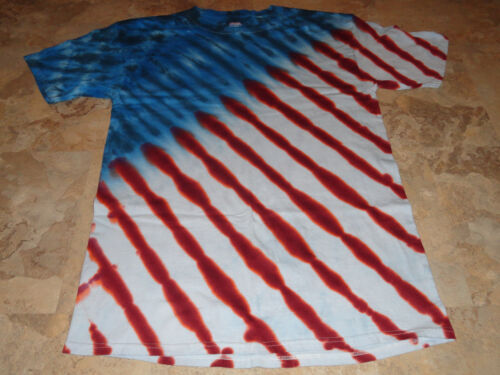 Mens TALL LG XL 2X 3X 4X Tie dye dyed hippie tshirt USA American Flag Tee