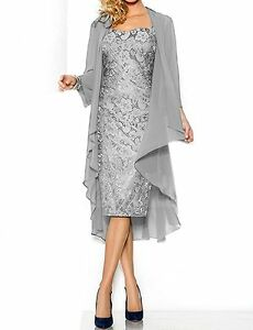 cdb7462bd7d 2 Piece Lace Applique Mother Of the Bride Dress With Chiffon Jacket ...