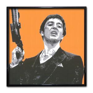 Scarface Gun Print Cult Movie Icon Poster Frame Decor Orange Warhol
