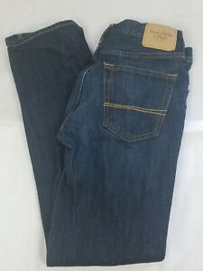 Para Hombre Abercrombie And Fitch Jeans Clasico Recto Oscuro Wash Denim Pantalones 31 32 Ebay