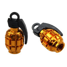2PCS Grenade Alloy Valve Caps Dust Covers Bike Bicycle MTB BMX Car Type Schrader