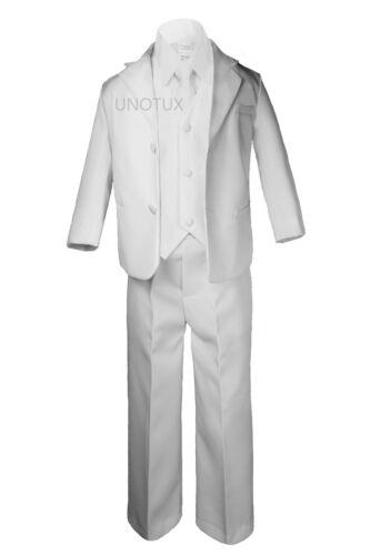 Boy Kid Formal 1st Communion Christening Baptism White Tuxedo Suit Stole Sm-20