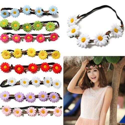 Daisy Elastic Sun Flower Crown Hairband Headbands Bridal Garland Wreath Wedding