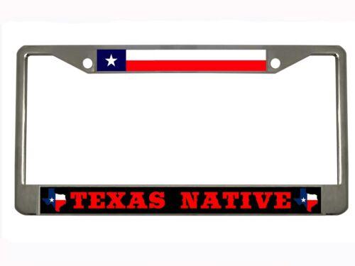 Texas Native Texas Map Metal License Plate Frame Chrome//Black