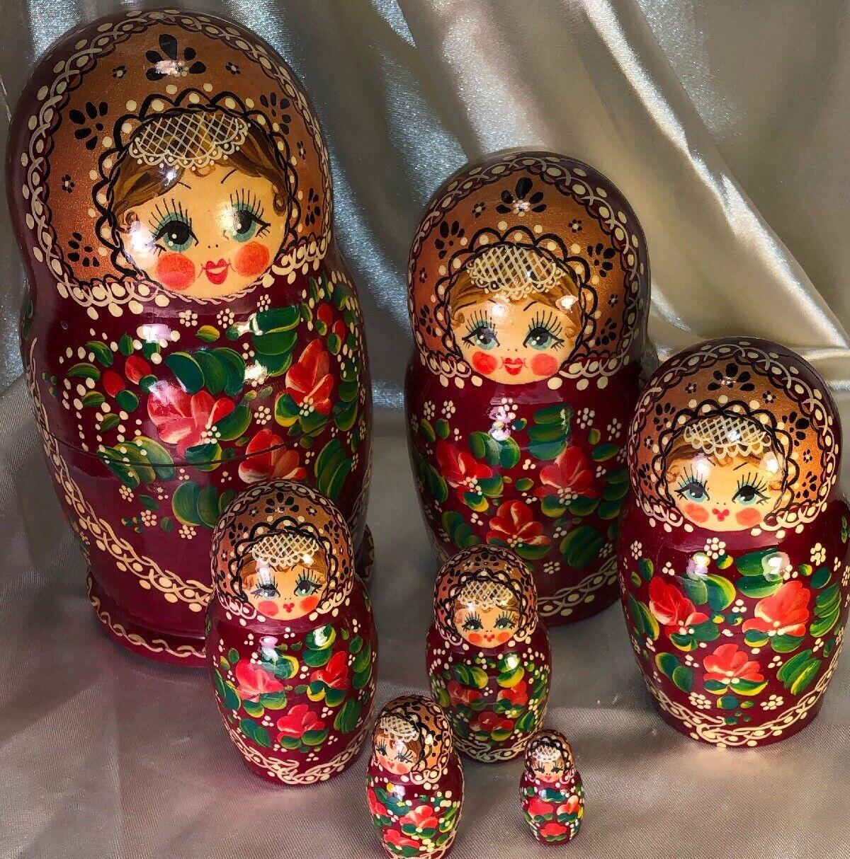 Russian Matryoshka Muñeca Anidación Rusas Boda Encaje Moscú Hecho A Mano Firmado