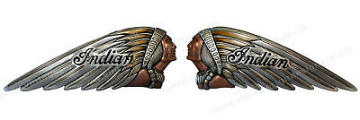 """Motorcycles Collectibles Fast Deliver Pair Of Indian War Bonnet Digitally Cut Out Vinyl Stickers 7"""" X 2.5"""" Silvcol"""