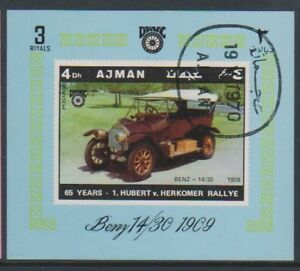 Ajman - 1970, Vintage Car (Benz 14/30 1909) sheet - CTO