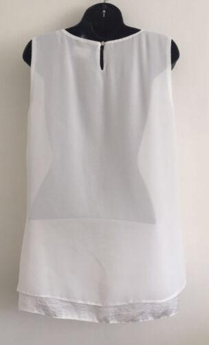 EX NEW C/&A White Chiffon Flare Dipped Hem Summer Tunic Vest Blouse Size 14-20