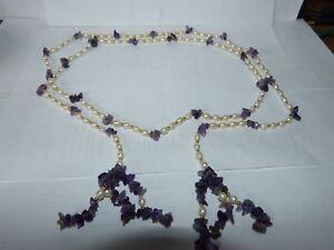 Realistisch Perlenkette, Zuchtperlen Mit Amethyst, Modeschmuck 70er Jahre Ideales Geschenk FüR Alle Gelegenheiten