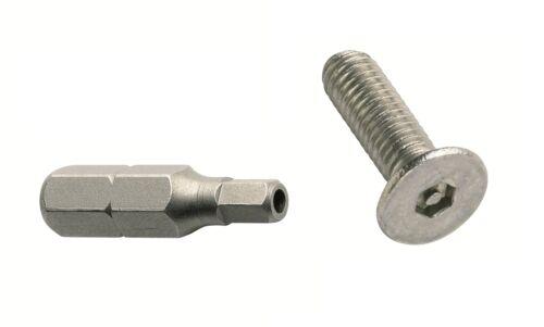 M4 x 12 Pin Esagonale svasati vite della macchina-ANTI VANDAL A2-25 Pack libera bit