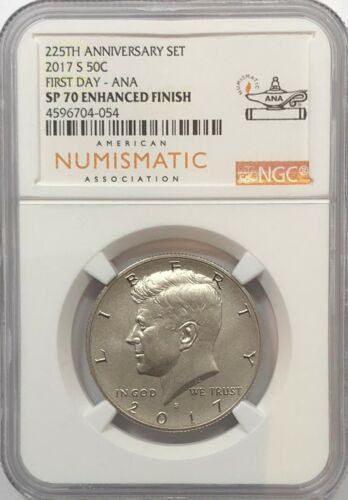 2017 S ENHANCED KENNEDY NGC SP70 FIRST DAY ANA HALF DOLLAR FROM 225TH SET