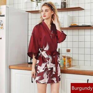 nouvelle arrivee 72033 9bcc1 Détails sur Japonais Femme Faux Satin Soie Peignoir Chemise de Nuit Kimono  Pyjama
