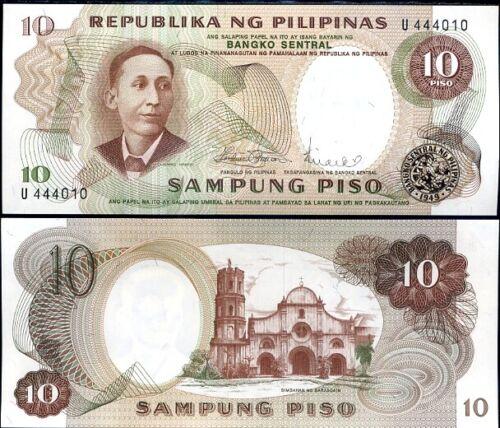 PHILIPPINES 10 PESO 1969 P 144 b SIGN 8 UNC