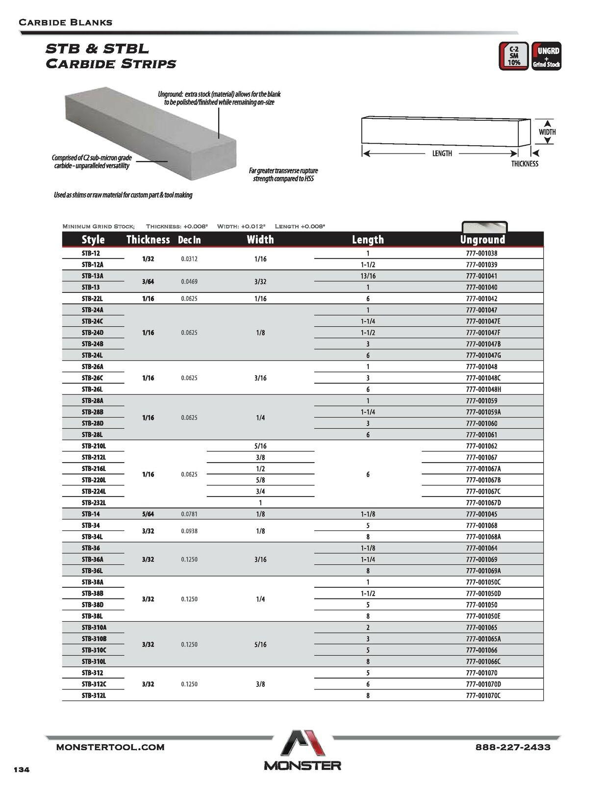 Made in USA Rectangular Strip Carbide Blank 1//16x3//16x6 STB26L Series