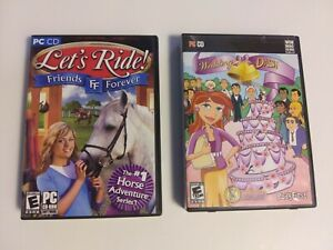 Girl's PC Game Party 2 Pack - Let's Ride - Wedding Dash - PC Computer Games Lot