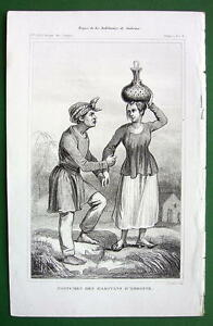 MOLUCCAS-ISLANDS-Amboine-Natives-Costume-1843-Antique-Print