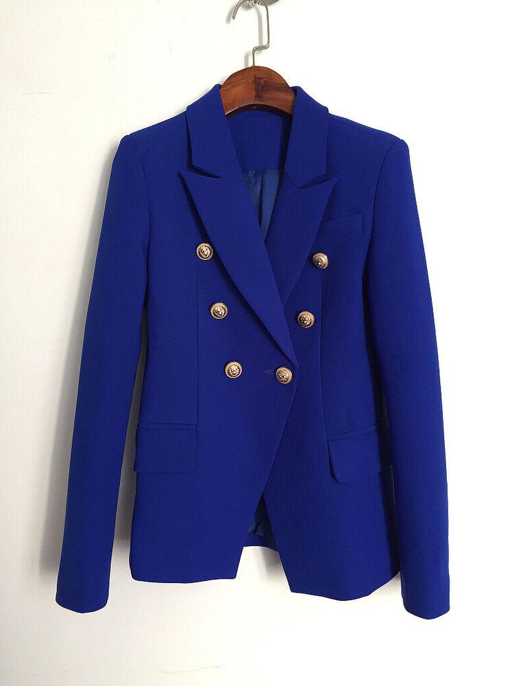 2020 Women's Inspiration Designer Métal Lion Boutons Blazer Manteau Royal Blue Uk 4-16