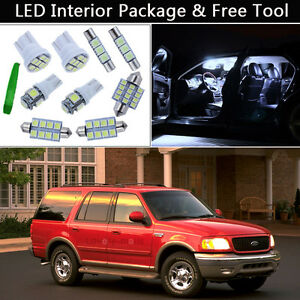 8pcs white led interior lights car package kit fit 1999 2002 ford expedition j1 ebay ebay
