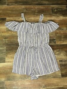 Angie-women-039-s-Cold-Shoulder-Blue-Striped-Playsuit-Shorts-Romper-L-NWT