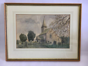 MICHAEL-HUMPHRIES-WATERCOLOUR-CHURCH-amp-CEMETERY-SCENE-FRAMED-GLAZED