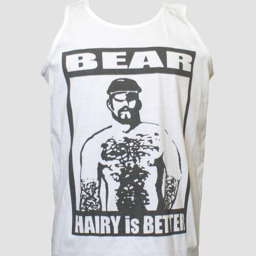 Gay Hairy Bear Parti Clubbing T-shirt Unisexe Blanc Débardeur Tank Top S-2XL