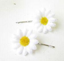2 x White Daisy Flower Hair Grips Clips Bridesmaid Bobby Pins Slides Boho 1787