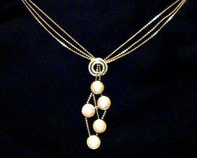 Vintage 10k Yellow Gold Pearl Diamond Chain Necklace Choker Estate 12.8 gm