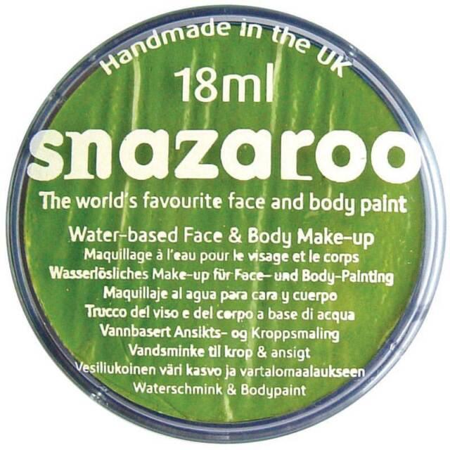 SNAZAROO LIME GREEN MAKE-UP 18ML, FACE PAINT, MAKE-UP,HALLOWEEN FANCY DRESS