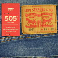 Levis 505 Jeans Size 33 X 32 Medium Blue W/fade Mens Straight Zip Fly Levi's on sale