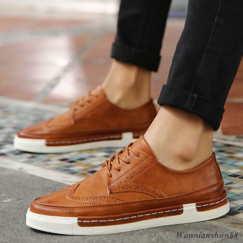 Mens synthetic Leather wing tip oxford lace up Brogue sneakers casual shoes new