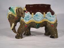 Ancien Rare Elephant Terre Cuite Barbotine Majolica XIX ème Jardinière Pot Tabac