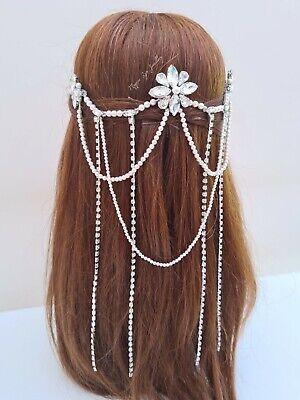 bridal hair piece Wedding and bridal hair accessory Bridal hair chain Diamante hair drape Pearl head chain Pearl hair accessory