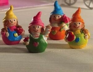 Four wibbly Wobbly Doll Gnomes, Doll House Miniature, 1.12 Scale, Nursery Garden