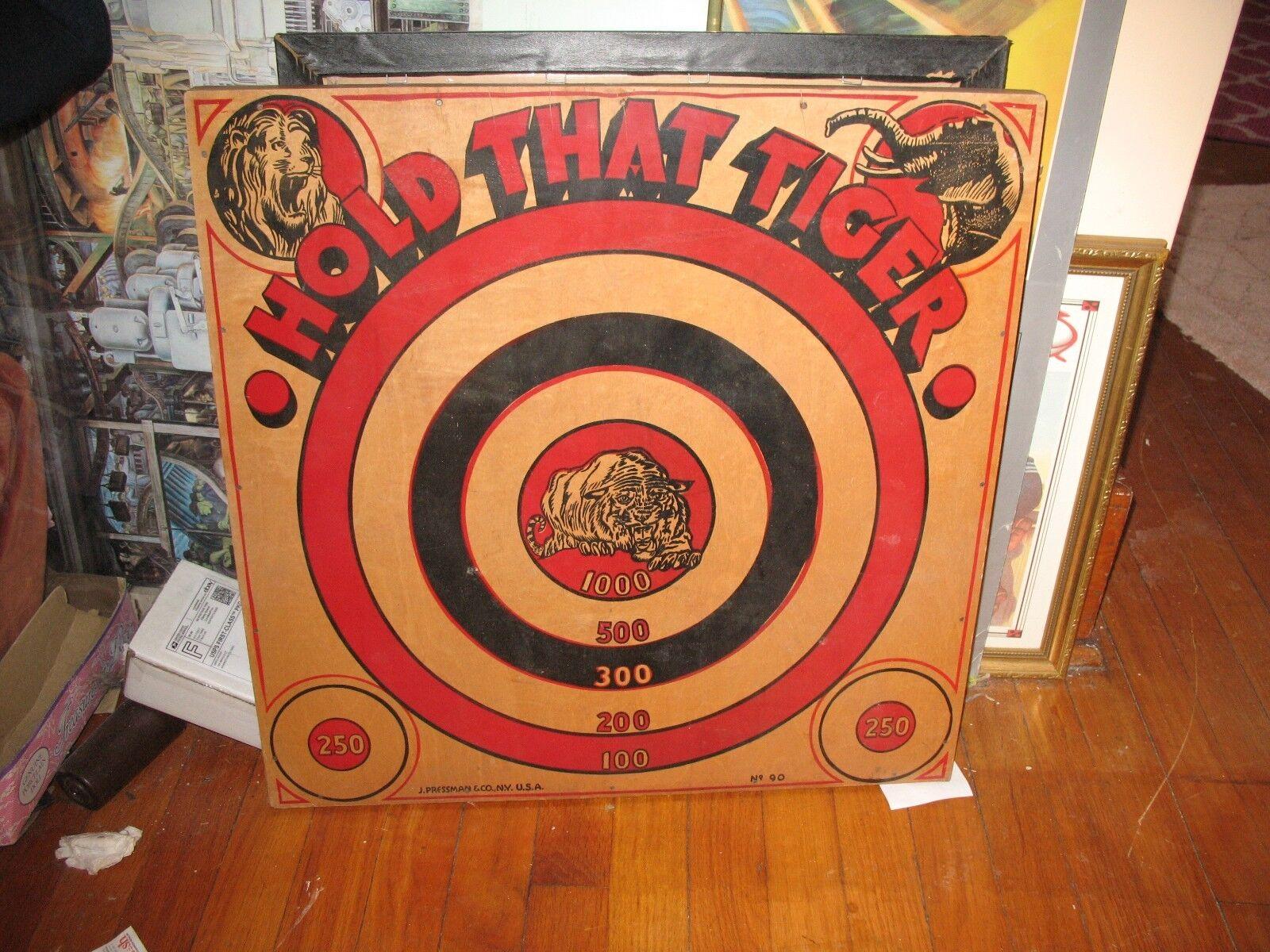 Vintage 1940's J. Pressman Co. RARE HOLD-THAT-TIGER Wooden Dart Board Game
