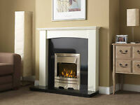 Electric Silver White Curved Surround Black Granite Wall Fire Fireplace Suite