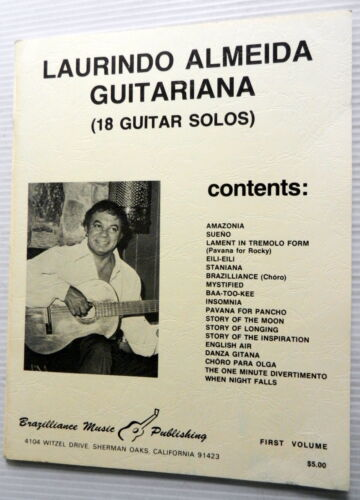 LAURINDO ALMEIDA Songbook GUITARIANA 18 Guitar Solos Brazilliance Publ JAZZ