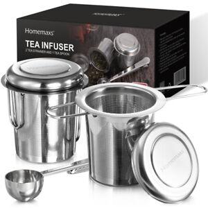 2x-Teesieb-mit-Deckel-Teefilter-Teenetz-Teeeinsatz-Teeei-Edelstahl-mit-Loeffel