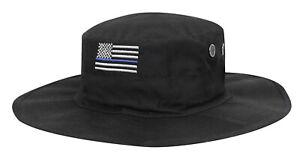 Police Thin Blue Line US Flag Hat Booniehat Boonie Adjustable Black ... 24c06d1dd82b