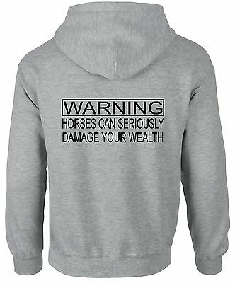 100% Wahr Warning Horses Damage Your Wealth ~ Horse Riding Rider ~ Black Or Grey Hoodie Spezieller Sommer Sale