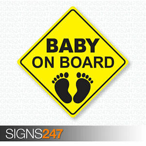 BABY-ON-BOARD-STICKER-Yellow-Car-Window-Sticker-Children-Adhesive-Decal-Safety