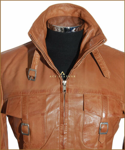 femmes Tan véritable Safari cuir pour Manteau en Lauren style nappa d'agneau vdSqTY