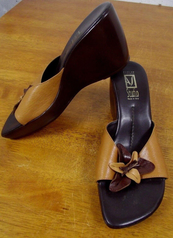 Andrew Stevens Floral Studio Womens 38 / 7.5 Italian Leather Floral Stevens Wedge Sandals Shoes 66c6d4