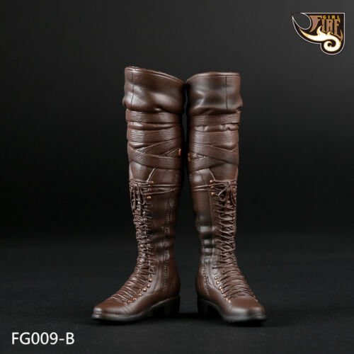 """1//6 Scale Brown Women/'s Long Boots Shoe For 12/"""" Phicen HT Female Figure FG009-B"""