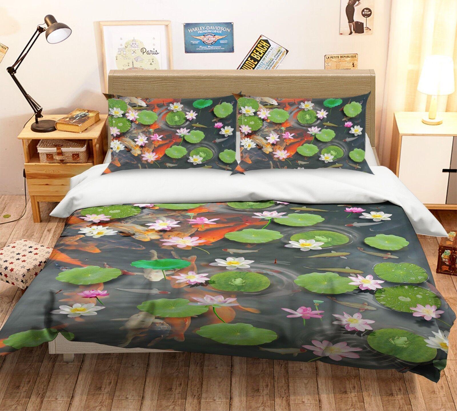 3D Koi Lotus Teich 5 Bett Kissenbezüge steppen Duvet Decken Set Single DE