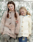 girls child hooded or round neck duffle coat chunky knitting pattern 99p