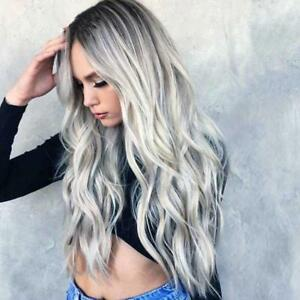 Womens Fashion Gradient Large Wave Hair Curls Mixed Color Synthetic ... 2d960482b