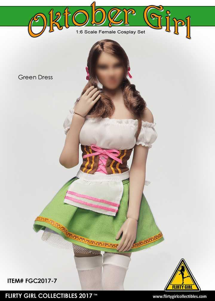 1 6 Figure Flirty Girl's Oktoberfest Cosplay Clothing Set in Green FGC2017-7