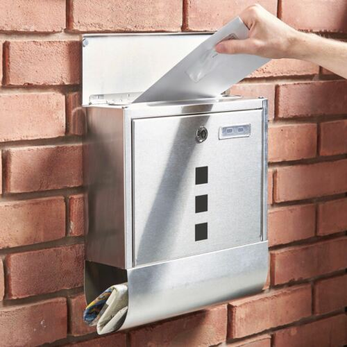 WHITE STEEL PLATED WATERPROOF HEAVY DUTY MAIL BOX WALL MOUNTED A4 SIZE SLOT NEW