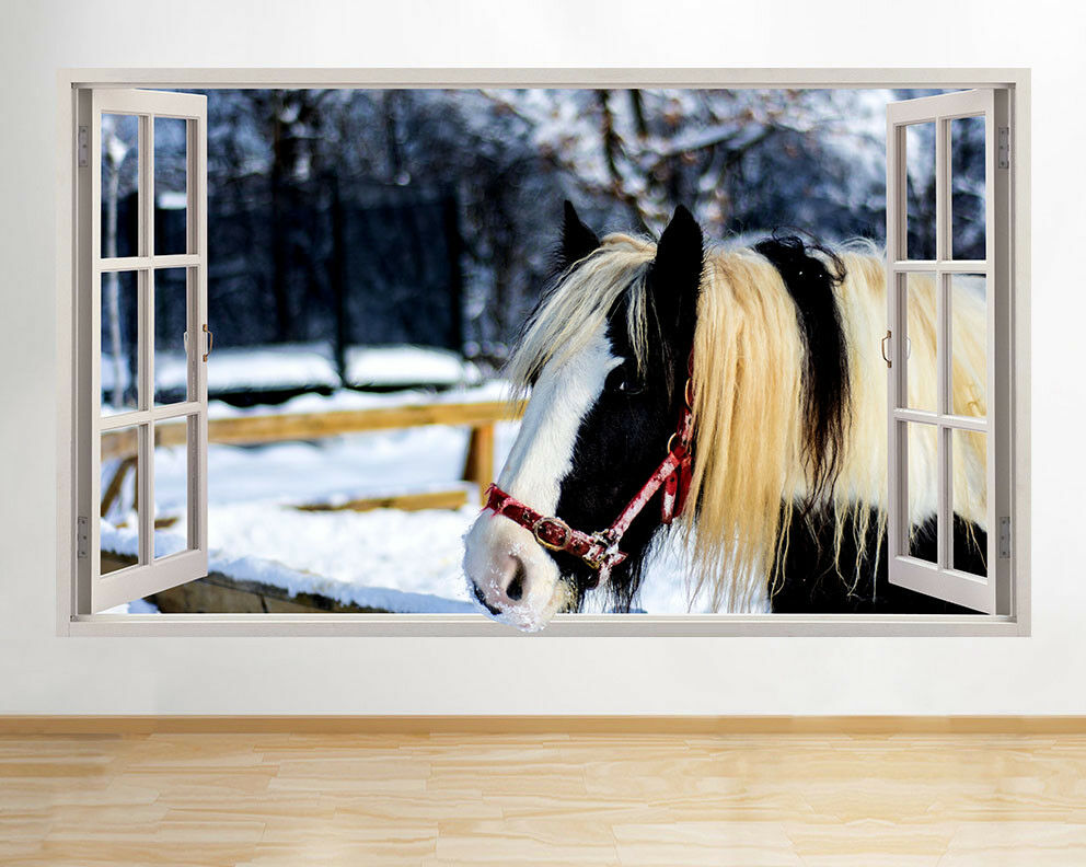 Wall Stickers Cute Horse Animal Snow Winter Window Decal 3D Art Vinyl Room C990