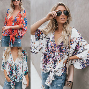 Womens Boho Batwing Sleeve Knotted T Shirt Summer Casual Loose Blouse Top Kimono
